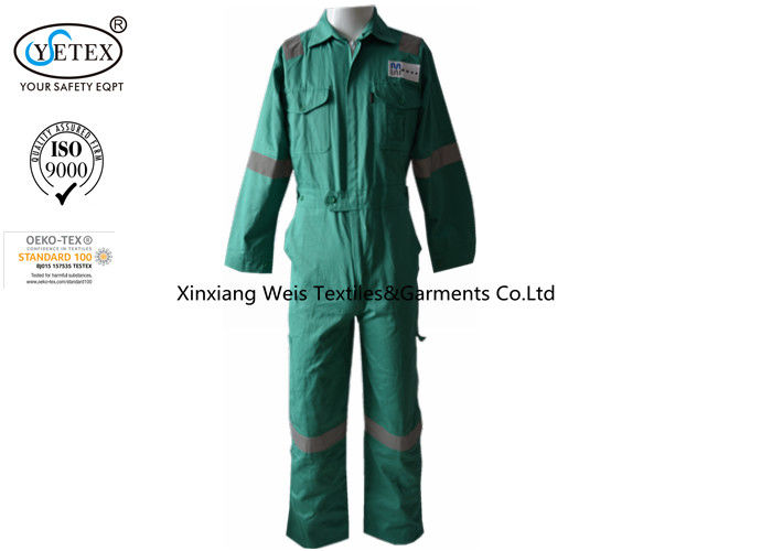 Working Safety Green Fr Cotton Coveralls / Fire Resistant Insulated Coveralls