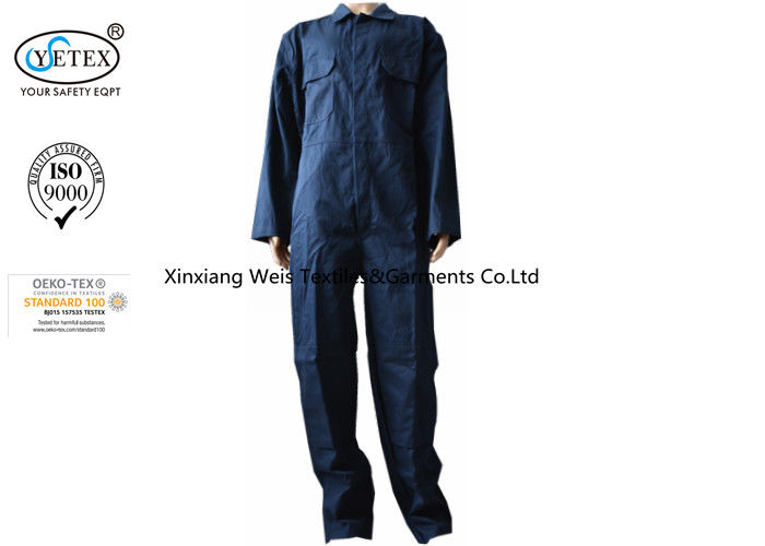 Navy Blue Frc Insulated Coveralls / Man Woman Flame Retardant Workwear