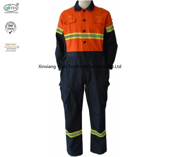 Fire Rated Fr Cotton Coveralls Two Tone Cotton Denim Orange Navy Blue