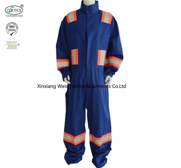 Blue Cotton Fr Reflective Coveralls / Flame Resistant Insulated Coveralls
