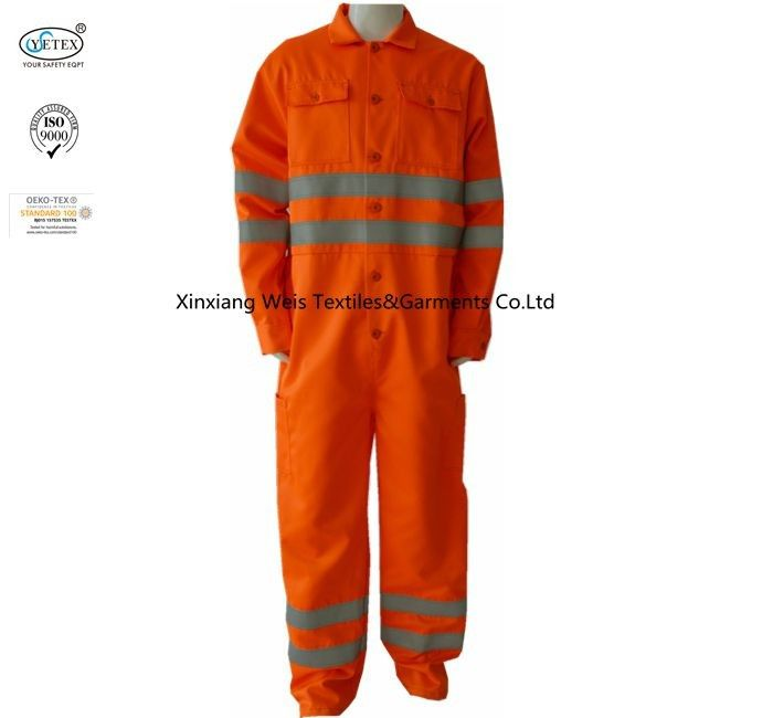 300gsm Cotton Orange High Vis Fr Coveralls With Reflective Tape Safety