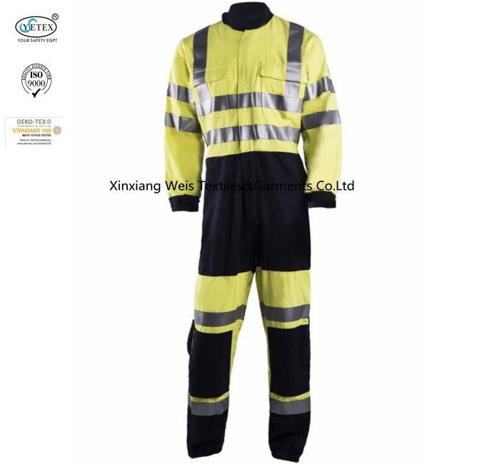 Yellow Fire Resistant Coveralls With Reflective Tape Two Tone High Visibility