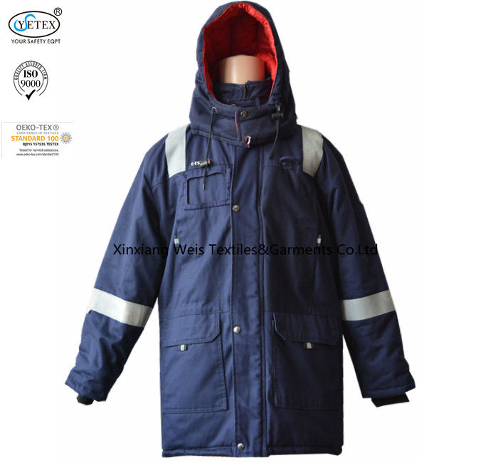Anti Static Hooded Fire Resistant Winter Coat With Reflective Tape 250gsm