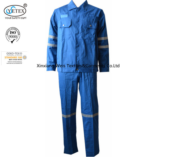 Cotton Blue Fireproof Boiler Suit With Reflective Trim Anti Static 240gsm