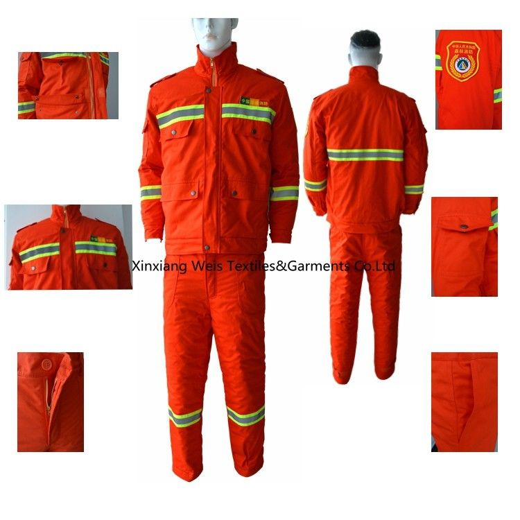 Orange Winter Insulated Cotton 280gsm Flame Resistant Suit