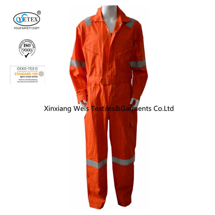 XS Orange 100 Cotton Reflective Lightweight FR Coveralls