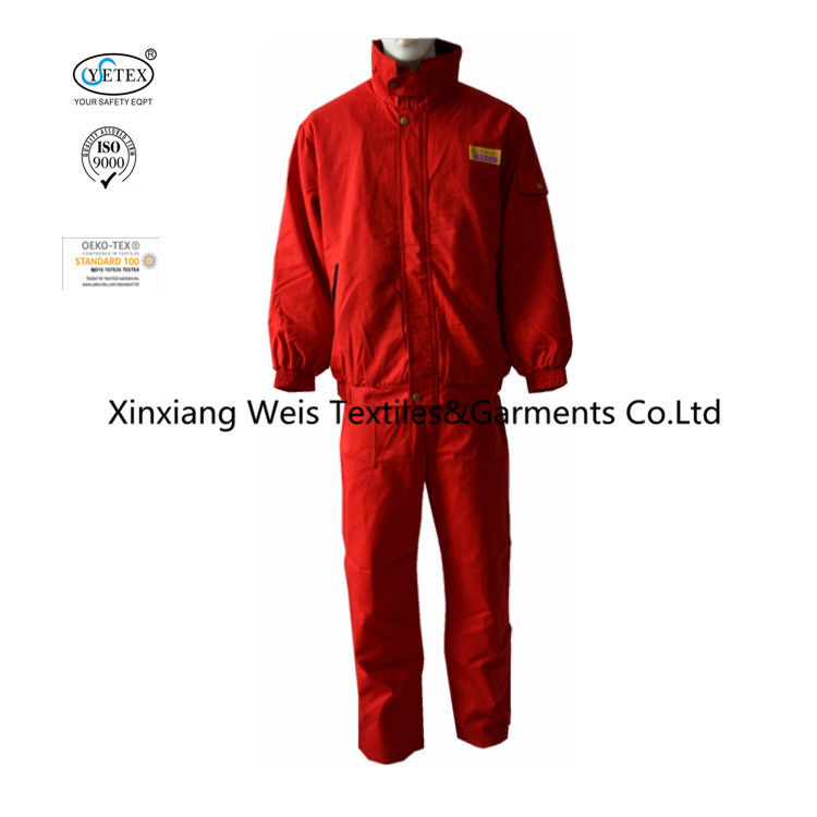 Red Cotton Twill Anti Static 320gsm Flame Resistant Suit
