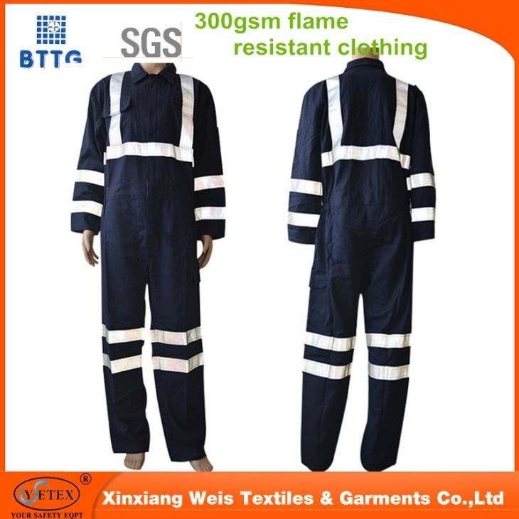 Protective Fire Resistant Insulated Coveralls Navy Blue With Reflector
